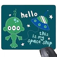 こんにちはエイリアンとエイリアンの宇宙 長方形のノンスリップゴムパッドのゲームマウスパッドプレゼント