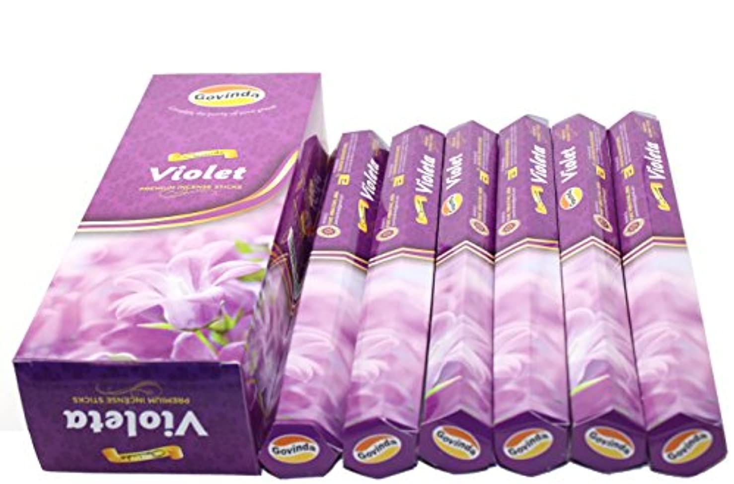 スカーフ混乱礼儀Govinda ® Incense – バイオレット – 120 Incense Sticks、プレミアムIncense、Masalaコーティング