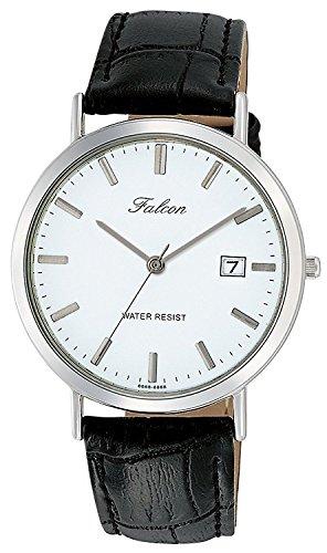 [シチズン キューアンドキュー]CITIZEN Q&Q 腕時計 Falcon ファルコン アナログ 革ベルト 日付 表示 ホワイト D020-301 メンズ