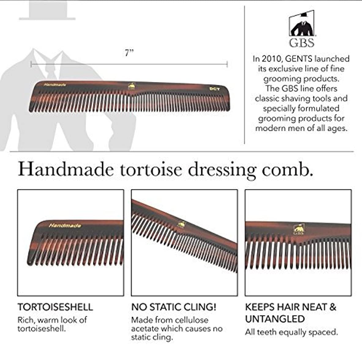 スリップシューズ責任者好きであるGBS Premium Anti-Static Hand Made Coarse/Fine Toothed Dressing, Grooming, and Styling Comb for Men/Women, 7