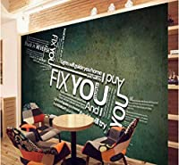 Mingld カスタム3D壁紙ヨーロッパスタイル3Dステレオカスタム壁画英語アルファベット背景壁紙レストラン装飾-150X120Cm