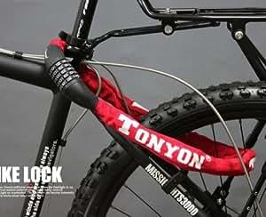 【ダイヤル式チェーンロック】TONYON 自転車・バイク用 盗難防止 ダイヤル5桁 赤