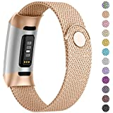 Adepoy Compatible for Fitbit Charge 3/Charge 4 Bands,Replacement Wristbands for Charge 3 SE Fitness Activity Tracker, Metal Stainless Steel Bracelet Strap with Unique Magnet Lock for Women Men