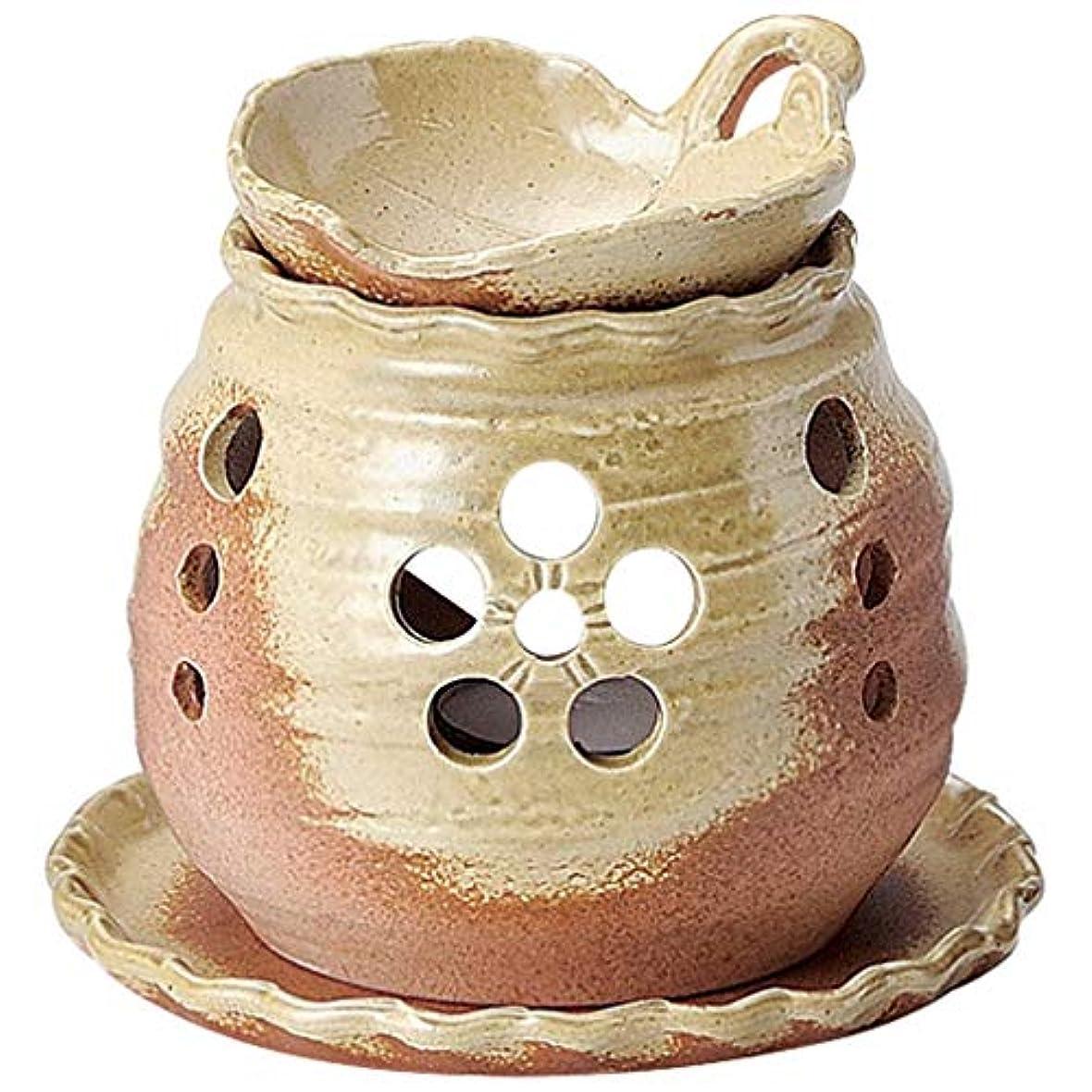 餌過去分子常滑焼 ?39-06 茶香炉ゆとり 木の葉 皿付   ロウソク1ヶ付 径13.2×11.5