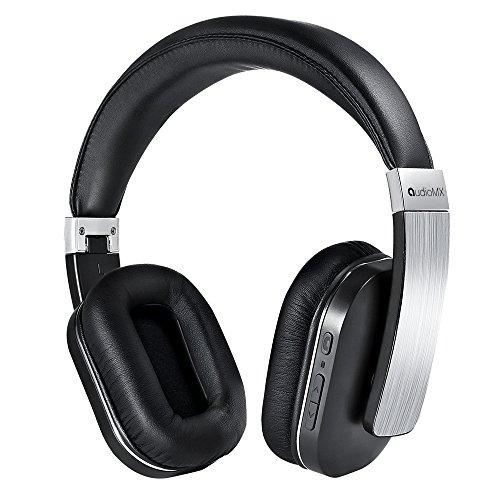 AudioMX Bluetoothヘッドホン ワイヤレスヘッドホン 密閉型 オーバーヘッド 内蔵マイク 20時間連続稼働 シルバー
