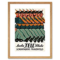 Ad Clothing Shoes Tell Soldier March Parade Switzerland Framed Wall Art Print 衣類兵士スイス壁