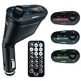 iFormosa シガーソケット マルチメディア自動車キット MP3プレーヤー FMトランスミッター USB SDカード対応 MMC リモコン付き 青LED IF-618-BL