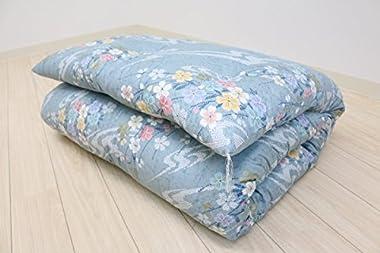 シングル 手作り 綿わた100%入 和式 敷ふとん (6.0kg) (ブルー)