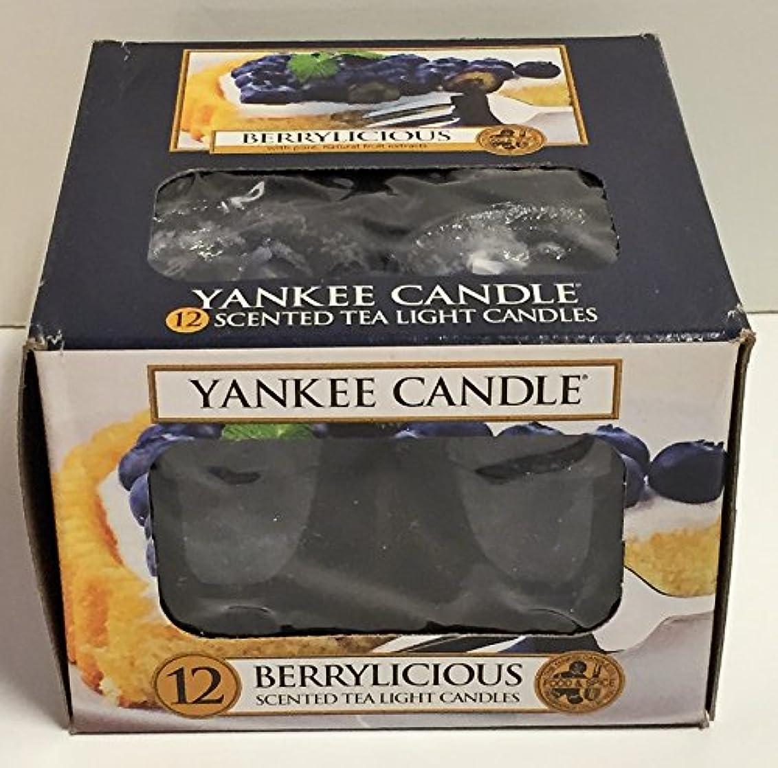 美人ガチョウ乳白色Yankee Candle Berrylicious、フルーツ香り Scented Tea Lights ブルー 1311125