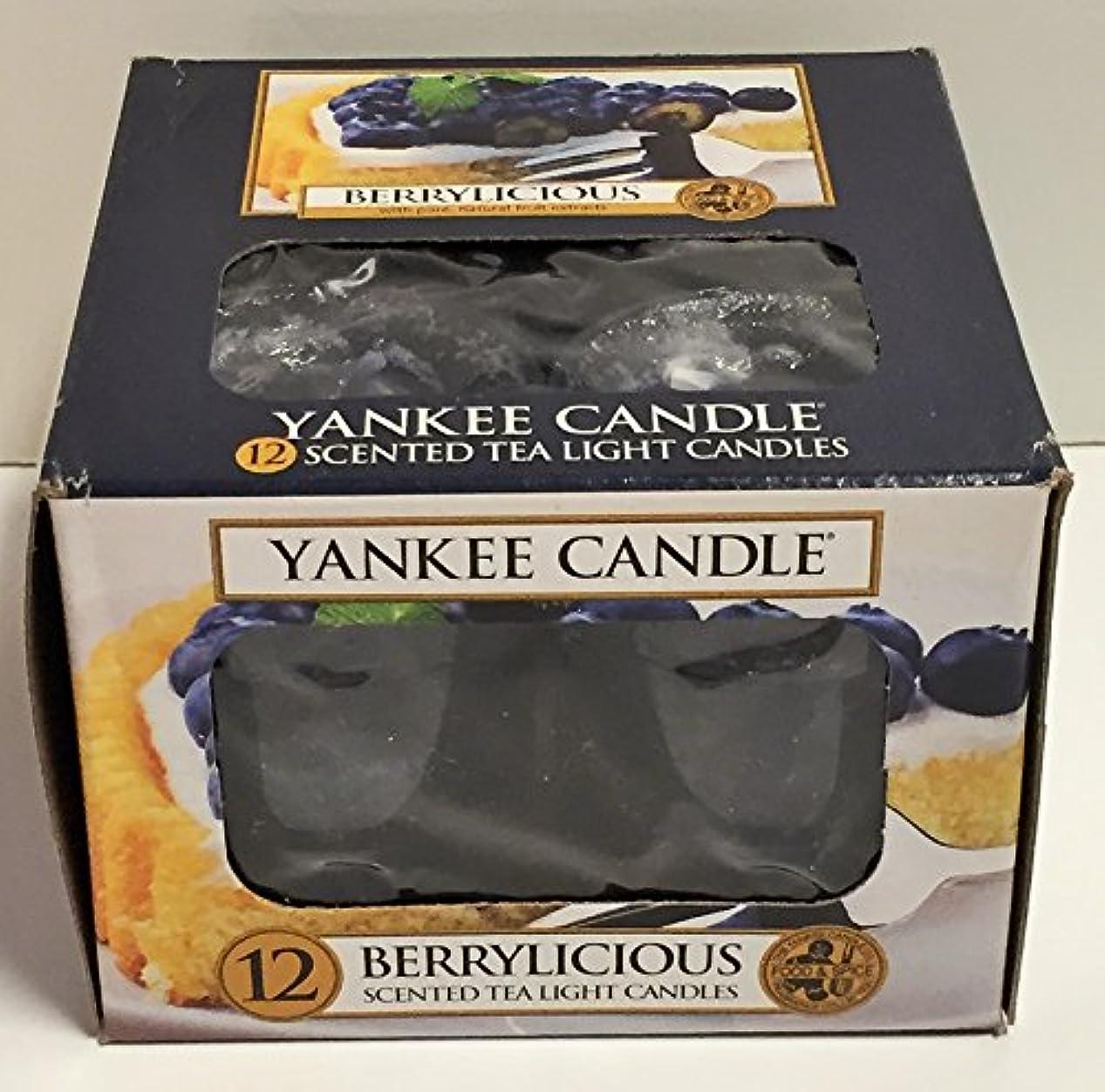 良いカリング傷跡Yankee Candle Berrylicious、フルーツ香り Scented Tea Lights ブルー 1311125