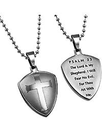 PSALM 23シルバークロス シールドペンダント ネックレス ギフトバッグ入り(24インチ)