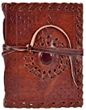 Leather Emboss With Stone Diary (10 Cm X 14 Cm X 3 Cm)