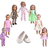 American Girl Doll Clothes Wardrobe Makeover- 7 Complete Outfits+one pair shoes, Fits 46cm Doll Clothes