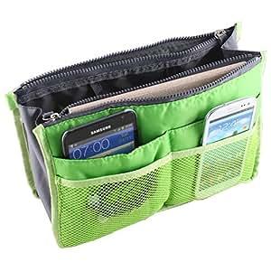 ストレージバッグ,SODIAL(R)グリーントラベルオーガナイザー ハンドバッグ ポーチ バッグインバッグ オーガナイザーインサート化粧品ポケット