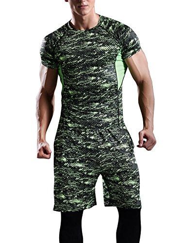 Hanyam コンプレッションウェア メンズ 上下 セット ランニングウェア スポーツウェア 半袖 吸汗 速乾 高弾力 防臭