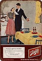 1952年SchlitzビールBurned夕食Vintage Reproduction Metal Sign 8x 12