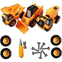 3 Toy Trucks Take Apart STEM Learning Toys Set, Dump truck, Cement Truck & Digger Toy, W Tools, Great Gift For Boys & Girls Ages 3 - 12 Yrs Old
