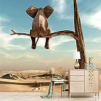写真の壁紙、壁3Dの漫画パターンの森の壁画の象の壁紙、居間の子供部屋の家の装飾280 cm(W)x 180 cm(H)