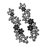 花 レース アップリケ 刺繍 モチーフパッチ 女性 DIY 手芸用 裁縫 縫製 素材 アクセサリー 全2色選べる - 黒 ノーブランド品