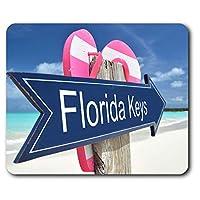 快適なマウスマット - RM16691 - フロリダキーズビーチは、コンピュータ&ノートパソコン、オフィス、ギフト、ノンスリップベースのためのアメリカUSA 23.5 X 19.6センチメートル(9.3 X 7.7インチ)のサイン