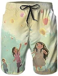 メンズ ビーチショーツ ショートパンツ 可愛いガールプリント 水着 スイムショーツ サーフトランクス インナーメッシュ付き 通気 速乾