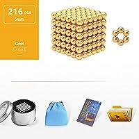 建築用ボール玩具、125/216/512 / 1000pcs、5mmで知能開発とストレス解消教育用スタッキング玩具、3Dパズル玩具(大人/子供用),Gold,216
