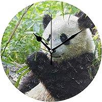 壁掛け時計 電波 コンパクトサイズ プラスチック枠 カフェ レストラン ペンション ローマ数字 直径約25cm パンダ柄 萌え 白黒 パンダシリーズ
