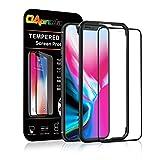 OAproda iPhone X/iPhone XS 全面保護フィルム 液晶保護強化ガラス フルカバー【ガイド枠付き】【存在感ゼロ/画面鮮やか高精細 / 99%以上のケースに干渉しない】アイフォンX/XS 用 フィルム ブラック(黒)