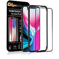 OAproda iPhone X/iPhone XS 全面保護フィルム アイフォン10 ガラスフィルム 液晶強化ガラス 全面フルカバー【存在感ゼロ/画面鮮やか高精細/貼り付け簡単】iPhoneX/XS, ブラック(黒)