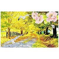 秋の風景黄金の葉ハト壁画-カスタム写真3d壁紙屋外絵画壁用3d壁壁画壁紙3 d 280cm(W)x230cm(H)