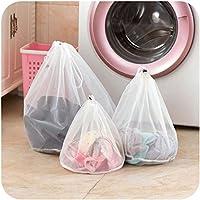 3個ファインメッシュポータブルドローストリング洗濯バッグ洗濯下着ブラジャーランジェリーセーター衣類保護ワッシュバッグ保管袋白小 (26*29cm)