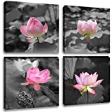 "Inzlove Black and White Flower Canvas Wall Art Print Paintings Artwork, Bwl, 12""x12""x4 Panels"