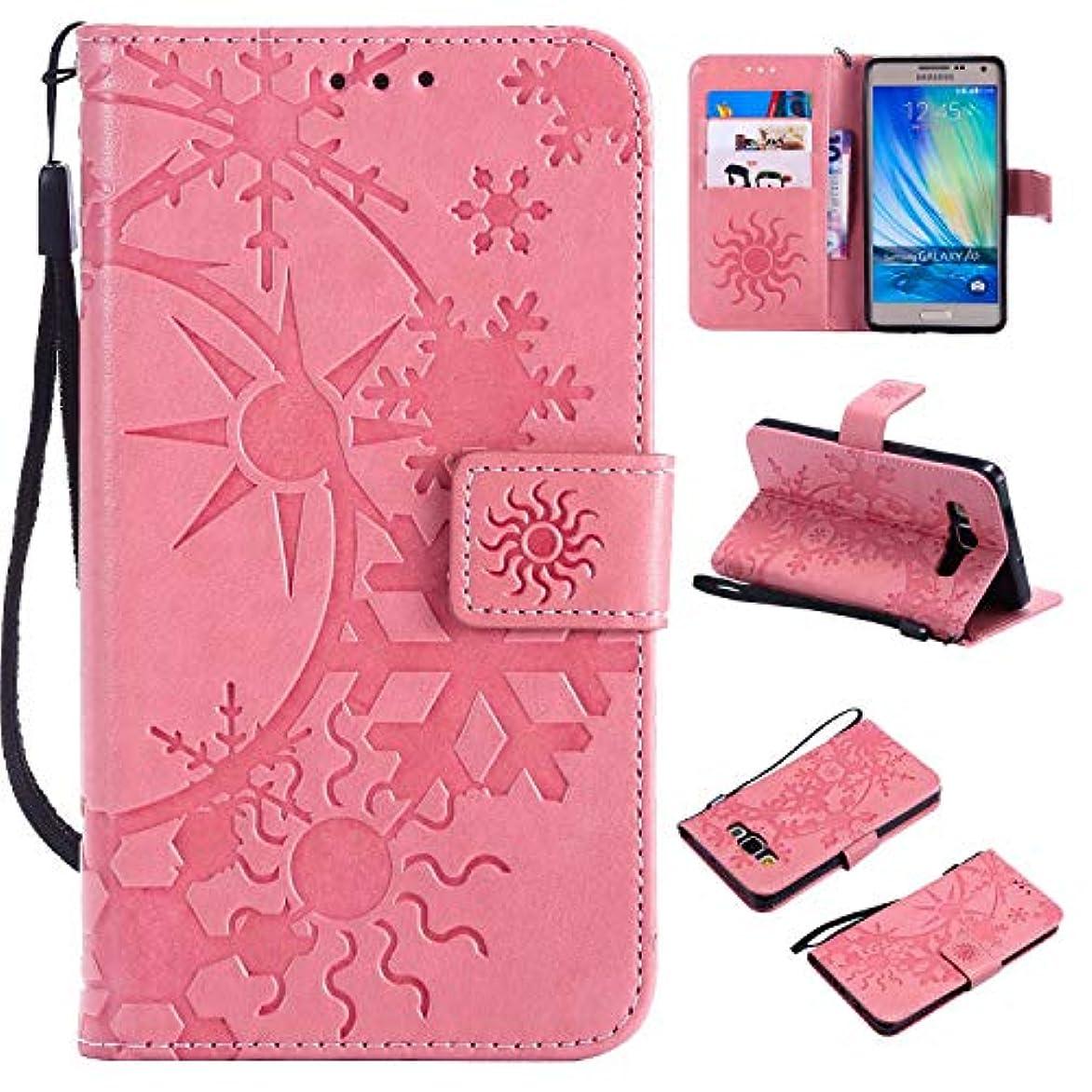 性格完全に乾く階下Galaxy A5 ケース CUSKING 手帳型 ケース ストラップ付き かわいい 財布 カバー カードポケット付き Samsung ギャラクシー A5 マジックアレイ ケース - ピンク