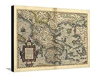 Orteliusのマップのギリシャ、1570ストレッチキャンバスプリントbyの図書館 32 x 24 in