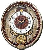 SEIKO CLOCK (セイコークロック) 掛け時計 電波 アナログ からくり 6曲メロディ 回転飾り 薄金色パール RE568B