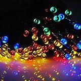 太陽発電 ソーラー 充電式 LED イルミネーション 発光モードは8パターン 【赤青黄緑・計200球】 20m 光センサー内蔵 自動ON/OFF クリスマス イルミ