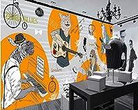 Mbwlkj 音楽スタジオダンススタジオ写真の壁紙手描きの抽象動物服ショップカフェカスタム3D漫画の壁画-400cmx280cm