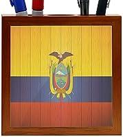 Rikki Knight Ecuador Flag on Distressed Wood Design 5-Inch Wooden Tile Pen Holder (RK-PH8539) [並行輸入品]