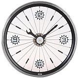 モミジLFT-16-BKバイクウォールクロック - ブラックアルミリム付