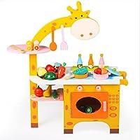 子供は、遊び木製おもちゃ、キリンキッチン遊びセット、キッチンが3年のための家庭の商品キッチン女の子おもちゃという遊びのふりをするふりをする