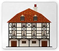スイスの長方形マウスパッド、伝統的なコテージヨーロッパの古典的な建築建物のファサード、滑り止めのラバーバッキングマウスパッド、ブラウンオレンジとクリーム