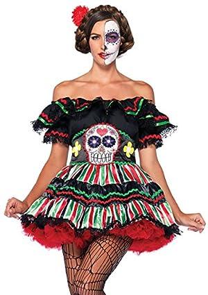 LEG AVENUE(レッグアベニュー) Day of the Dead Doll オフショルダードレス スカルベルトセット コスチューム マルチ レディース S-Mサイズ