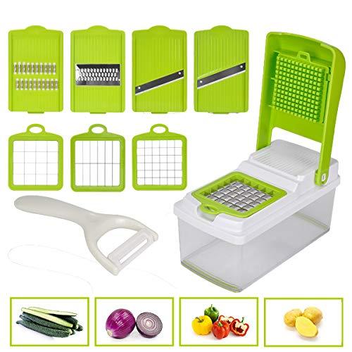 野菜カッター スライサー 調理器セット スライス 千切り 角切り 多機能 安全ホルダー付き ピーラ付き 1台8役