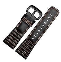 腕時計ベルト 腕時計バンド 替えストラップ 社外品 汎用レザーベルト ブラック革ベルト 取付幅28mm 適用: SEVENFRIDAY P1 P2 P3 セブンフライデー (尾錠) (橙糸(ブラックバックル))