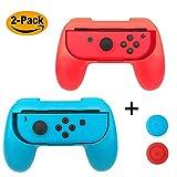 EMiENニンテンドースイッチJoy-conのハンドルグリップ, ニンテンドー Joy-con用の親指のグリップカバー,2パック(赤&青)