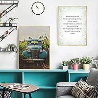 車のポスター壁アートキャンバスホーム装飾絵画寝室用ヴィンテージブルー車-40×60センチ×2ピースフレームなし