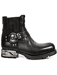 New Rock Shoes - Men's Black Motorock Leather Boots
