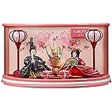 雛人形 親王ケース飾り ピンク 間口50×奥行29×高さ28cm アクリルケース YN1208HC ケース飾り 桃の節句 ひな人形 下敷き毛氈付き