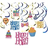 30-Count Swirl Decorations - Happy Birthday Party Supplies Party Whirl Streamers Happy Bday Hanging Decorations Assorted Colors - Hanging Length: 35 to 38 Inches [並行輸入品]