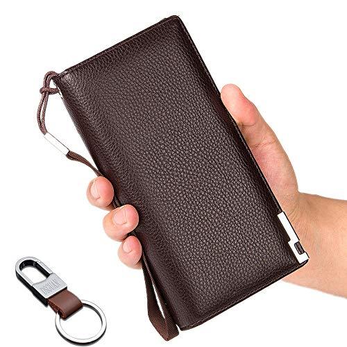 長財布 メンズ 二つ折り財布 本革 大容量 人気 ボックス型小銭入れ 薄い ブラック 多機能 ラウンドファスナーDSGUAN (ブラウン)